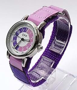 105034CC Niñas aprender a decir la hora reloj con esfera color morado/lila y morado correa de Velcro