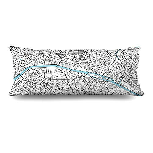 Ahawoso Body Pillows Cover 20x54 Inches Vintage Black White City Map Paris Artistic Abstract Arc Triomphe Cartography Drawing Line Decorative Cushion Case Home Decor Pillowcase