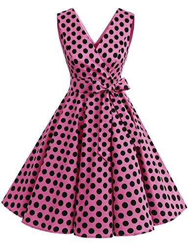 Dresstells®Vestido De Estilo 1950 Corto Mujer Vintage Retro Escote En Pico Con Cinturón Pink Black Dot