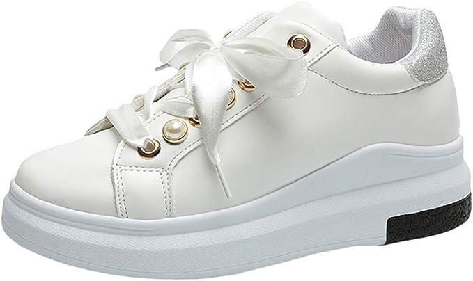 DressLksnf Zapatillas de Blanco para Mujer Ligeros Fondo Grueso ...