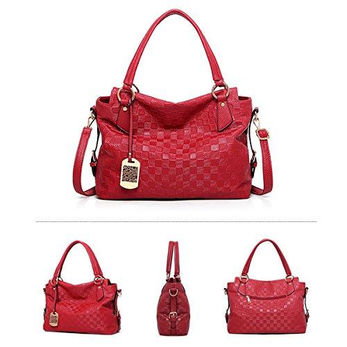 del la patrón Bolsos del suaves del del color sólido señoras bolso hombro del de bolso manera nuevo del Rojo bolso mensajero del bolso de Tisdaini las vxPOAqpq