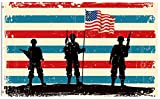ShineSnow American Flag Veterans Day Soldier Military 5×8 Feet Flag, Polyester Memorial Day 4th of July Independence Double Stitched with Brass Grommets 5 X 8 Ft Flag for Outdoor Indoor Decor