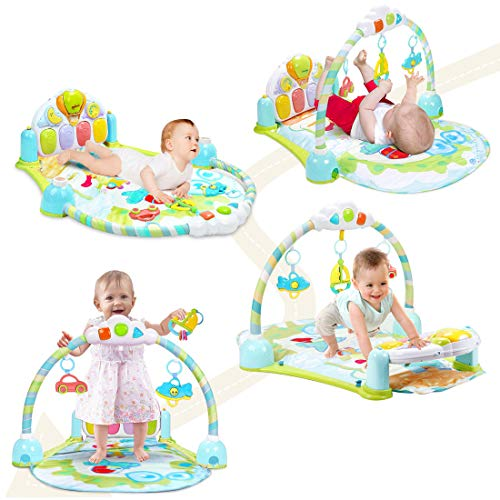 FORSTART Kick and Play Piano Gym Large Activity Play Mat for Baby Sit Lay Down Infant Tummy Time Sensory Development Educational Playtime