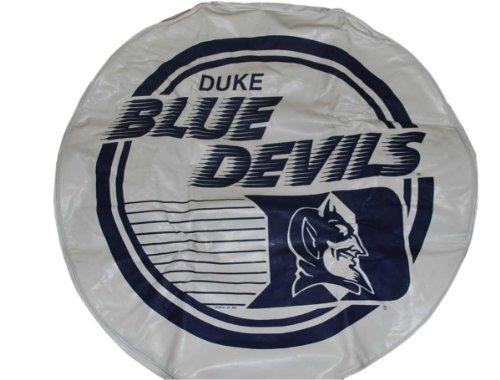 Duke Blue Devils Fremont Die Printed Mascot Logo Vinyl White Tire Cover 16