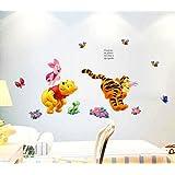 ZuoLan 1pcs PVC Winnie l'ourson sticker mural amovible réutilisable pour Enfants / Garçons / Filles / Décoration Maison Chambre (#E)