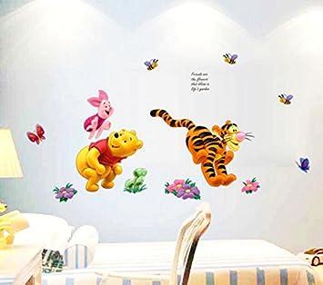 ZuoLan 1pcs PVC Winnie l\'ourson sticker mural amovible réutilisable pour  Enfants/Garçons/Filles/Décoration Maison Chambre (#E)