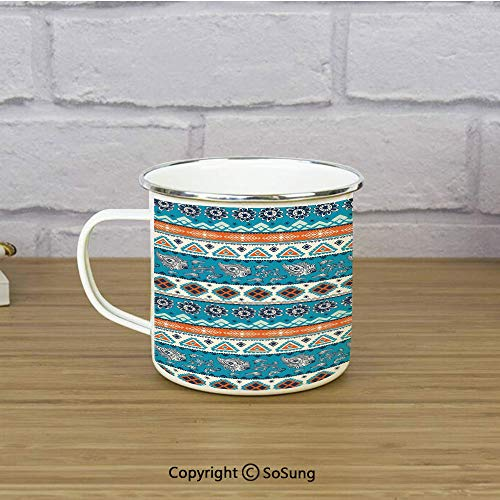 (Tribal Enamel Camping Mug Travel Cup,Aztec Ethnic Print with Persian Tulips Floral Spring Season Bohemian Art Decorative,11 oz Practical Cup for Kitchen, Campfire, Home, TravelBlue Orange and White)