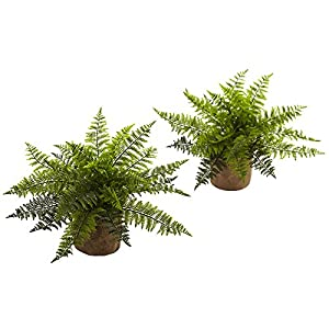 Nearly Natural Ruffle Fern Bush Silk Plant - Set of 2 102
