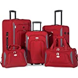 Merax Newest 5 Piece Set Expandable Rolling Suitcase Softshell Deluxe Luggage Set (Red)