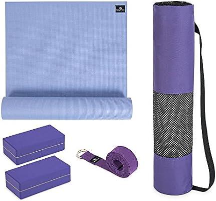 Kit de iniciación de Yoga: Esterilla de Yoga (6 mm, Bolsa de Yoga ...