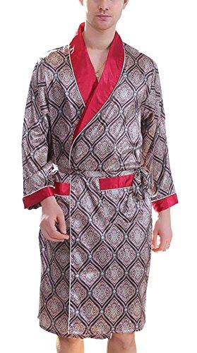 Men's Printed Bathrobes Luxurious Kimono Soft Satin Robe with Shorts Nightgown
