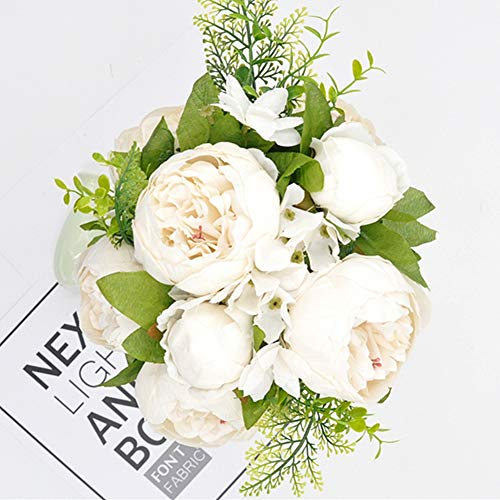 Homyu Artificial Peony Flowers Silk Bouquet Arrangement Glorious Moral for Home Parties and Weddings Decoration (Milk White)