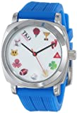 TKO Cool Silver Case Blue Rubber Fun Emoji Icon  White Face Watch TK635BL