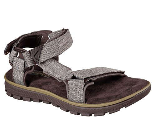 Skechers 65310 Mens Relaxed Fit: Mandro - Reeve Sandals, Chocolate - 9