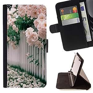 Momo Phone Case / Flip Funda de Cuero Case Cover - Rosas Blanco Rosa Floreciente - Sony Xperia Z5 Compact Z5 Mini (Not for Normal Z5)