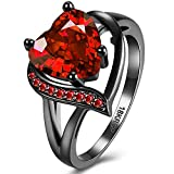 BEMI Romantic Black Gold Plated Promise Band Ring Wedding Red Heart Cubic Zirconia Rings for Women