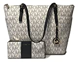 MICHAEL Michael Kors Large East West TZ Tote bundled with Michael Kors Jet Set Travel Three Quarter Zip Wallet (Signature MK Navy)