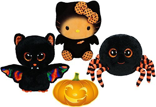 Ty Beanie Boos Halloween Crawly Spider, Scarem Bat, and Hello Kitty Bat Set of 3 Scary Friends with Bonus Pumpkin -