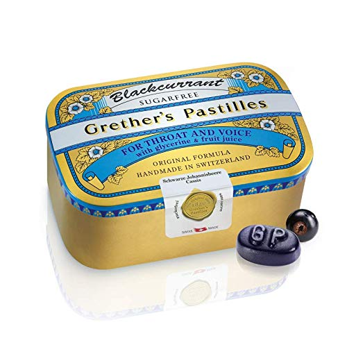 GRETHER'S Pastilles Sugar Free, Blackcurrant, 15 oz/4 Tins of 3.75oz by GRETHER'S