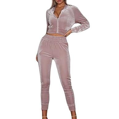 Sansee Promotionen Damen Freizeitanzug Sportanzug Jogginganzug Sportjacke Jacke mit Reißverschluss Sporthose Trainingsanzug Hose Set