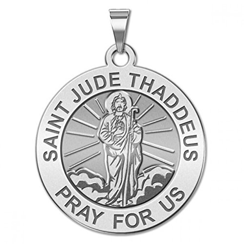 Saint Jude Religious Medal (Full Figure) - 3/4 Inch Size of a Nickel -Sterling - Gold Jude