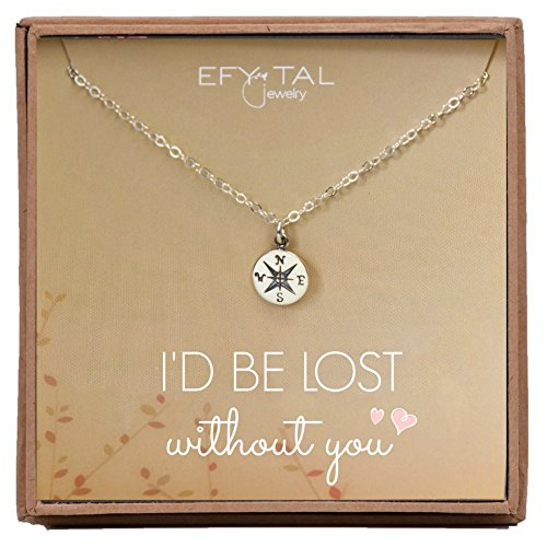 Necklace Gift for Girlfriend / Wife, Sterling Silver Cute I Love You Compass Heart Jewelry for Her, Valentines Day