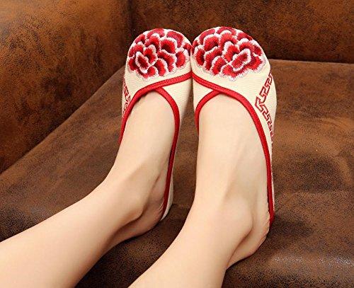WHH Zapatos bordados, lenguado de tendón, estilo étnico, flip flop femenino, moda, cómodo, sandalias Red