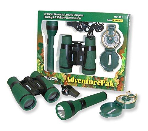 Carson AdventurePak Containing 5x30 Binocular, Lensatic Compass, Flashlight, and Whistle/Thermometer (HU-401)