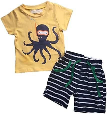 Evelin LEE Baby Boy Short Sleeve T-shirts and Stripe Shorts 2pcs Set Clothes