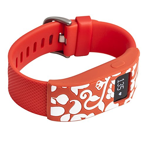 WITHit French Bull Designer Sleeve compatible with Fitbit Charge/Fitbit Charge HR - Band Cover - Vines tangerine/white