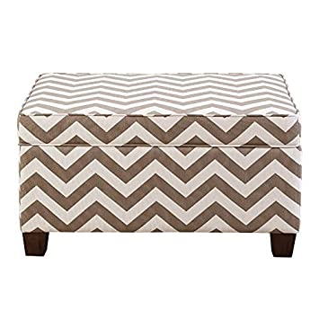 Marvelous Amazon Com Home Fare Chevron Upholstered Storage Ottoman Caraccident5 Cool Chair Designs And Ideas Caraccident5Info