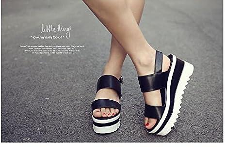 73b5b9df4e9a Amazon.com   Summer Korean fashion leather Sandals Women s ...