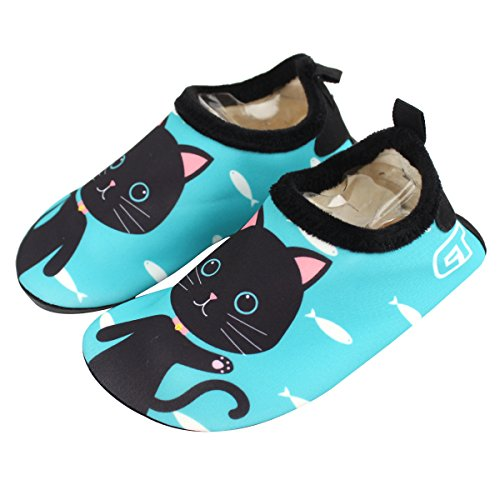 Joah Store Boys Girls Cute Animal Comfort Indoor Slipper Thermal Shoes (12M - 13M US Little Kid, Cat(Green)) ()