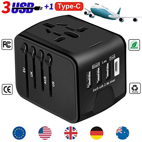 YooGoal Universal Travel Adapter Quick USB Charger with 1 Type C and 3 USB Ports International World Power Plug Adapter…
