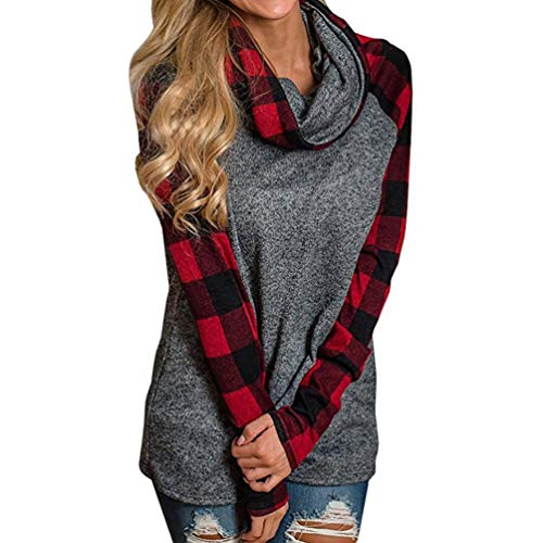 TRENDINAO Blouse Womens Turtleneck Tops Plaid Shirts Tunic Long Sleeve Pullover Sweatshirt RD/XXL
