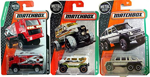 2017 Matchbox  91   Mercedes Benz G63 Amg 6X6 Off Road 6 Wheeler Trucks 4X4 Desert Thunder V16 Red Hauler   Vantom Explorer Mbx 3 Pack In Protective Cases
