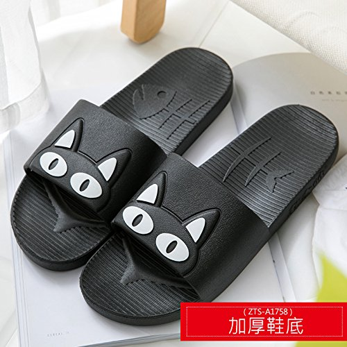 fankou Slippers Women Indoor Summer Anti-Slip Home with Lovely Cartoon Couples Home Bath Bathroom Cool Slippers Male Summer,35-36, Black White Cat (Thick)