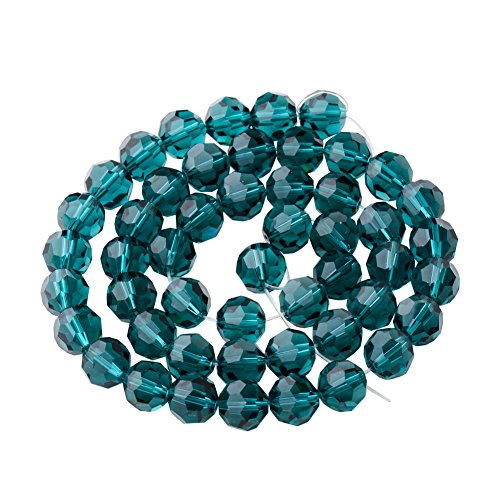 PandaHall Elite 1 Bag of 45pcs Assorted Faceted Round Crystal Glass Beads Imitation Austrian Crystal Bead Strands Diameter 8mm Emerald
