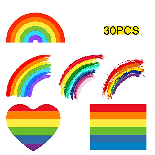 Renashed 30Pcs Pride Temporary Rainbow Tattoos Stickers Waterproof Removable for Gay Pride Parade Celebrations (6 Different Patterns)