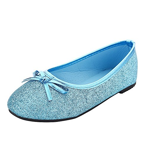 Bling Bling Glitter Fashion Slip On Children Ballet Flats Shoes for Little Kids Girls and Toddler Girl (Kid Girl Size 2M, Teal Blue) -