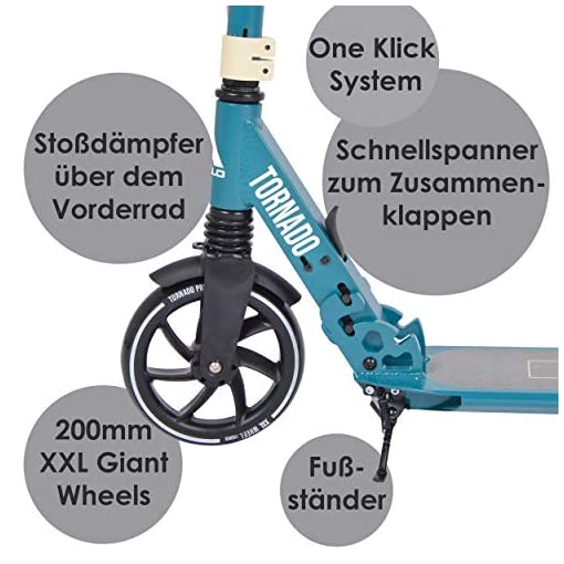 Apollo High End Scooter – Tornado City Scooter avec Frein et Suspension, City Roller Pliable et réglable en Hauteur, Kick Scooter pour Adultes et Enfants