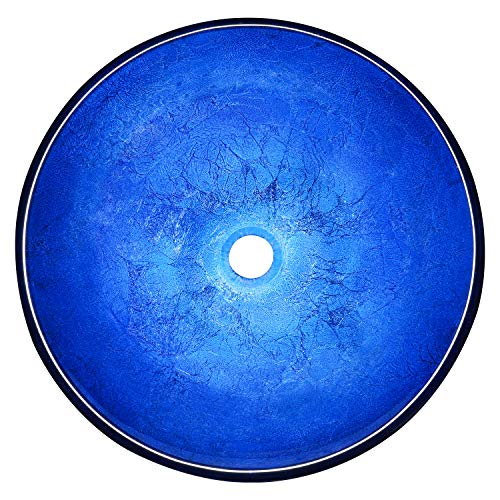 Enbol EGS-L0077 Blue Handmade Artistic Tempered Glass Bathroom Above Counter Vessel Vanity Sink Bowl, Standard Round Top…