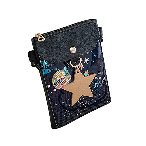 Fashion Women Mental Star Mini Galaxy Shoulder Bag PU Leather Crossbody Bag Hasp Flap Phone Bag For Girl Black