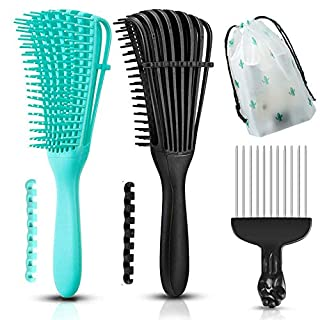 3 Pieces Detangling Hair Brush Set for Curly Hair, ez Detangler Brush with Hair Pick Comb for Afro American 3a to 4c curly hair brush, Flexible for Kinky/Wavy/Wet/Dry/Long/Thick/Thin Hair,No Pain,Easy Use and Clean for Men Women Kids