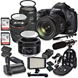 Canon EOS 5D Mark III 22.3 MP Full Frame CMOS Sensor Digital SLR Camera w/ EF 24-105mm f/4 L IS USM Lens + Tamron AF 70-300mm f/4.0-5.6 + EF 50mm f/1.8 STM Lens + Holiday Accessory Bundle