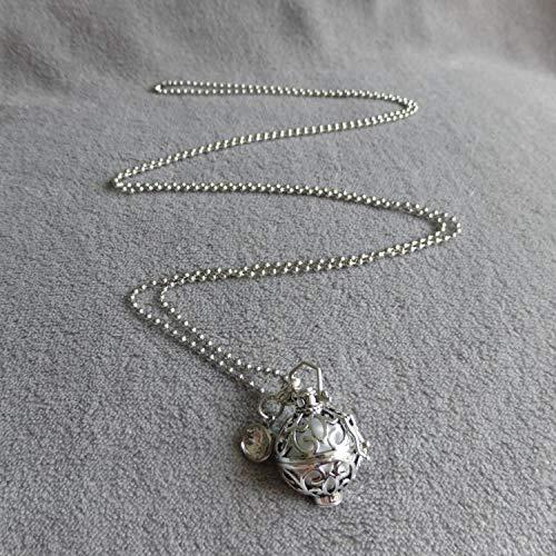 bille blanche cage argent/ée arabesques et navettes PERSONNALISABLE Bola de Grossesse avec chaine a bille Reaksa strass blanc