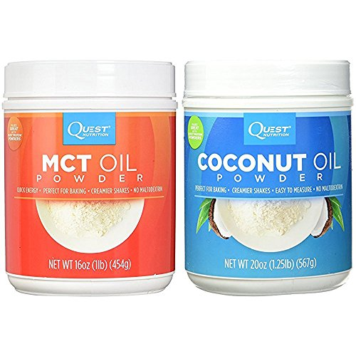Quest Nutrition Coconut Oil Powder 20 ounces and MCT Oil Powder 16 ounces (Bundle) by Quest