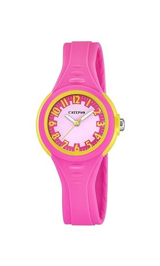 Calypso - Reloj de niña de Cuarzo con Rosa Esfera Analógica Pantalla y Correa de plástico de Color Rosa K5686/3: Amazon.es: Relojes