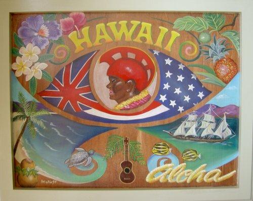 トールペイント ご自分で描く図案付白木素材キット cwk-106 オールドハワイ