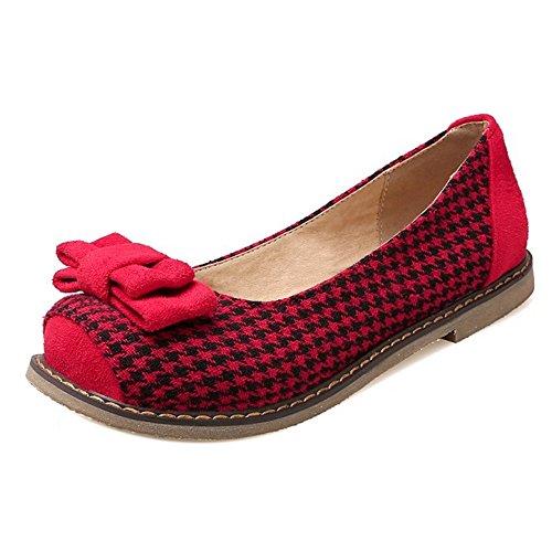 COOLCEPT Damen Mode Slip On Pumps Geschlossene Flach Schuhe Mit Bogen Rot